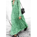 Green Casual Long Sleeve Deep V-Neck Polka Dot Ruffled Trim Maxi Swing Dress for Women