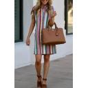 Gorgeous Women Short Sleeve Lapel Collar Button Stripe Print Short A-Line Shirt Dress in Yellow
