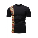 Mens Tribal Style Tape Panel Crew Neck Short Sleeve Slim Fit Leisure T-Shirt