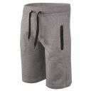 Mens Active Sport Drawstring Waist Zipper Pocket Plain Flat Front Shorts