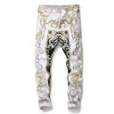 Mens Vintage Floral Printed Zip Placket White Casual Trousers Nightclub Pants