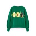 Creative Avocado Fried Egg Letter Printed Long Sleeve Patched Hem Loose Pullover Sweatshirt