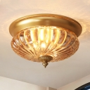 Prismatic Glass Dome Ceiling Lighting Colonial 2 Heads Corridor Flush Mount Light Fixture in Brass, 10