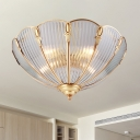 Scalloped Living Room Flush Mount Light Colonial Ribbed Glass 3 Bulbs Brass Close to Ceiling Lamp