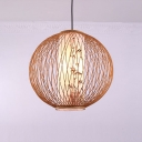 Bamboo Woven Pendant Light with Globe Shade Handmade 1 Light 16