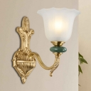 Class Style Floral Wall Lighting Fixture 1/2-Light Frosted Glass and Metal Wall Lamp in Gold for Dining Room