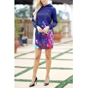 Casual Fancy Girls' Long Sleeve Hooded Floral Tie-Dye Short Shift Sweatshirt Dress in Blue