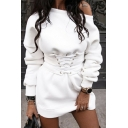 Casual Sport Women's Long Sleeve Drop Shoulder Lace Up Waist Plain Mini Sheath Sweatshirt Dress