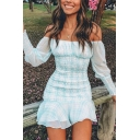 Sweet Cute Girls' Puff Sleeve Off The Shoulder Plaid Print Ruched Ruffled Trim Mini Bodycon A-Line Dress in Light Blue
