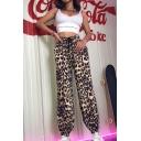 Cool Street Girls' Elastic Waist Drawstring Leopard Print Cuffed Full Length Oversize Trousers