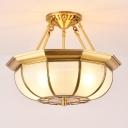 3/4/6 Bulbs Elliptical Ceiling Light Fixture Colonial Brass Satin Opal Glass Semi Flush Mount Lighting for Bedroom, 14
