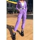 Trendy Purple Long Sleeve Swing Collar Zip Front Buckle Belt Flap Pockets Cuffed Ankle Relaxed Jumpsuit for Female