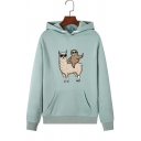 Lovely Cartoon Alpaca and Sloth Print Long Sleeve One Pocket Pullover Hoodie