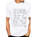 Funny Mathematical Formula Printed Short Sleeve Round Neck White Leisure T-Shirt