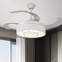 Modernist LED Ceiling Fan Lighting White Drum Semi-Flush Mount with Opal Glass Shade, Wall/Remote Control/Frequency Conversion