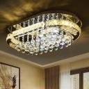 Oval Crystal Flush Mount Lighting Contemporary LED Chrome Flushmount Ceiling Lamp for Living Room