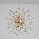 Starburst Hanging Light Kit Modern Diamond Crystal 12 Heads Gold Chandelier Light Fixture