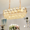 Crystal Block Oval Hanging Ceiling Light Postmodern 12 Heads Gold Island Light for Dining Room