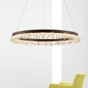 Simple Circle Chandelier Light Crystal Beaded Bedroom 16