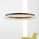 Simple Circle Chandelier Light Crystal Beaded Bedroom 16