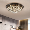 Crystal Ball Cascade Flush Light Fixture Simple Style Black LED Ceiling Mounted Light