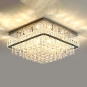 Square Ceiling Mounted Light Modern Crystal Ball 8 Heads Nickel Flush Light Fixture