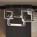 Modern Square Cluster Pendant Light LED Crystal Hanging Lamp Kit in Black for Living Room