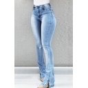 Light Blue Mid Rise Bleach Distressed Slit Full Length Skinny Flared Jeans for Women