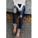 Fancy Fashion Ladies' Mid Rise Distressed Frayed Cuffs Long Skinny Jeans in Dark Blue