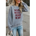 Funny Letter MAMA NEEDS SOME WINE Printed Long Sleeve Loose Fit Gray Pullover Sweatshirt