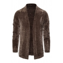 Mens Chic Plain Collarless Long Sleeve Open Front Ripped Detail Knitted Cardigan Coat