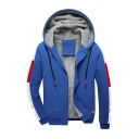 Casual Fashion Contrast Color Panel Long Sleeve Zip Up Slim Fitted Warm Thick Hoodie Track Jacket