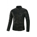 Mens Fashionable Solid Color Stand Collar Long Sleeve Slim Fit Casual PU Leather Jacket