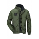 Mens Popular Flag Embroidery High Collar Long Sleeve Zip Up Hooded Quilted Jacket in Army Green