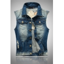 Mens Casual 52 GARULA Letter Embroidery Star Printed Raw Edges Ripped Detail Button Down Sleeveless Denim Vest