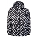 Allover Letter A Pattern Long Sleeve Zip Up Black and White Casual Thick Puffer Coat