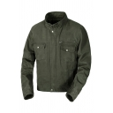 Mens Simple Plain Army Green High Collar Long Sleeve Hidden Placket Flap Pocket Military Jacket