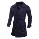 Mens Popular Solid Color Long Sleeve Double Breasted Split Back Slim Fit Longline Waterproof Trench Coat with Belt