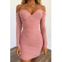 Womens Sexy Pink Solid Color Off-the-Shoulder Long Sleeve Ruched Mini Bodycon Dress