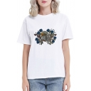 Womens Simple Floral Butterfly Bird Printed Short Sleeve Regular Daily Wear White T-Shirt