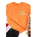 Cool Reflective Letter MERRY CHRISTMAS Print Short Sleeve Crew Neck Casual T-Shirt for Women