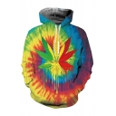 Mens Funny Colorful Vortex Maple Leaf Dripping Painting Long Sleeve Drawstring Hoodie