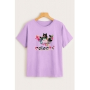 Womens Creative Cat Floral Letter ADICATS Printed Short Sleeve Loose Fit Casual T-Shirt