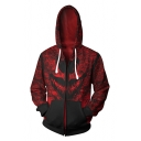 Cool 3D Red Pattern Cosplay Costume Long Sleeve Zip Up Hoodie