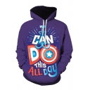 3D THIS ALL DAY Letter Print Long Sleeve Royal Blue Hoodie