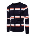 Mens Casual Color Block Striped Panel Long Sleeve Slim Fit Knitted Pullover Sweater