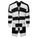 Mens Classic Black and White Striped Open Front Longline Sweater Cardigan with Pocket