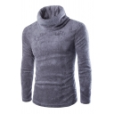 Mens Winter Popular Plain Long Sleeve Turtle Neck Slim Fit Casual Plush Pullover Sweater
