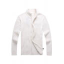 Mens Simple Ribbed Knit Plain Long Sleeve High Collar Zip Placket Fitted Cardigan Coat