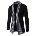 Mens Popular Houndstooth Patch Open Front Long Sleeve Casual Tunic Cardigan